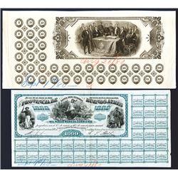 Banco De La Provincia De Buenos Aires - Bono Del Tesoro, 1880 Proof Banknotes.