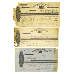 Bank of New South Wales ca.1850-60's Proof Certificate of Deposit and Exchanges