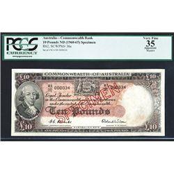 Commonwealth of Australia, ND (1954-59) Specimen Banknote Rarity.