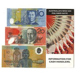 Reserve Bank of Australia, 1988-1996 Banknote Trio.