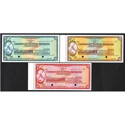Commercial Bank of Sydney, Limited, ca.1910-1920's Specimen Traveler Check Trio.