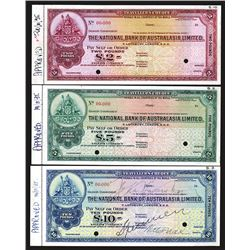 """National Bank of Australasia, Limited, ca.1930's """"Approval"""" Specimen Traveler Check Trio Payable in"""