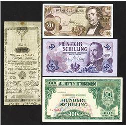 Wiener Stadt Banco & Oesterreichische Nationalbank, 1800-1967, Quartet of Issued Notes
