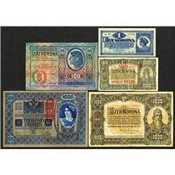 Austro-Hungarian Bank. 1920-23 Issue Assortment.