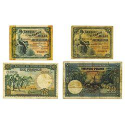 Banque du Congo Belge. 1940 to 1943 Issue Trio.