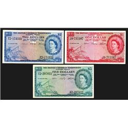British Caribbean Territories, Eastern Group. 1953 Issues, 1, 2, 5 Dollars. Group of 3 Notes.