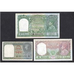 Reserve Bank and Government of India, 1938-1945 Issues, Trio of Notes