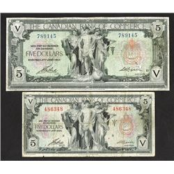 Canadian Bank of Commerce, 1917 and 1935 Banknote Pair.