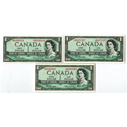 Bank of Canada, 1954 (ca.1961-72) Modified Hair Replacement Note Trio.