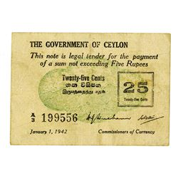 Government of Ceylon, 1942 Issue Legal Tendar Note