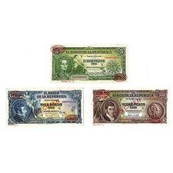 Banco De La Republica, 1953-1965 Specimen Banknote Quartet.