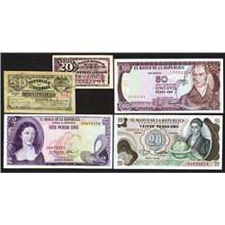 Banco Nacional and Banco de la Republica, 1900-1981 Issues, Group of 5 Notes