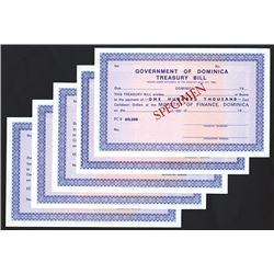 Government of Dominica Treasury Bill, ND (ca.1940-60's) Specimen Assortment.