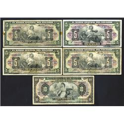El Banco Central del Ecuador, 1938-40, Quintet of Issued Notes