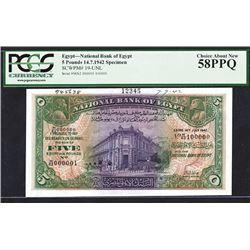 National Bank of Egypt, 1942 Specimen Banknote