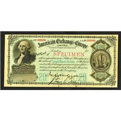 American Exchange in Europe, Limited, 1880's, $20, Specimen Circular Letter of Credit.
