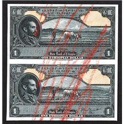 State Bank of Ethiopia. 1945 Issue Uncut Proof/Specimen Pair.