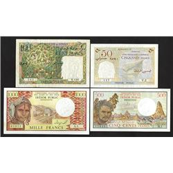 Tresor Public, Cote Francaise des  Somalis & des Affars et des Issas, 1952-75 Issue Banknote Quartet