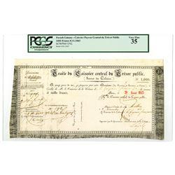 Caissier Payeur Central du Tresor Public (Service des Colonies), 1843 Treasury Note.