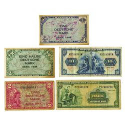 U.S. Army Command, 1948 First Issue Banknote Assortment.