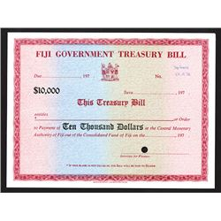 Fiji Government Treasury Bill, ca.1973 Specimen Certificate.