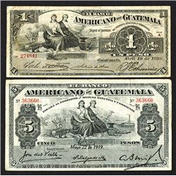 Banco Americano de Guatemala. 1899-1919 Issue.