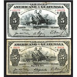 Banco Americano de Guatemala. 1918-19 Issue.