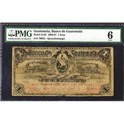 """Banco De Guatemala, 1896 """"Quetzaltenango"""" Issue Banknote."""