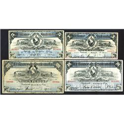 Banco de Guatemala, 1912-24 Quartet of Issued Notes