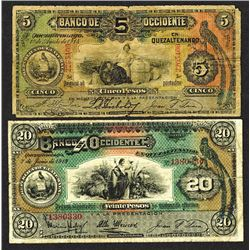 Banco de Occidente in Quetzaltenango, 1914, 1919 Issue.