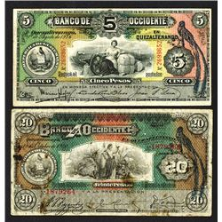Banco de Occidente, 1916-20 Issues.