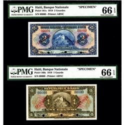 Banque Nationale De La Republique D'Haiti, 1925-32 Second Issue Specimen Pair.