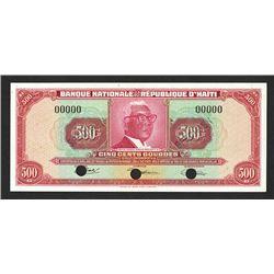 Banque Nationale de la Republique d'Haiti, L. 1919 Specimen 500 Gourdes