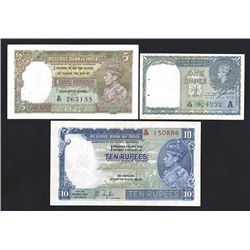 Reserve Bank of India, 1937 to 1940 Issue Trio.