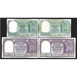 Reserve Bank of India, ca.1950-60's Banknote Quartet