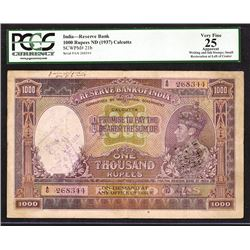 "Reserve Bank of India, ND (1937) ""Calcutta"" Branch Issue Banknote."