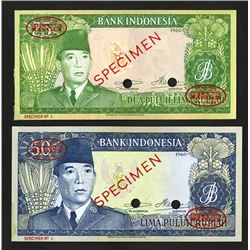 Bank of Indonesia, 1960 dated (1964) Issue Specimen Banknote Pair.