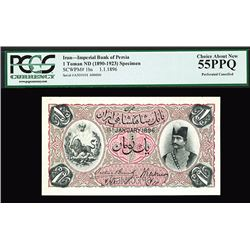 Imperial Bank of Persia, 1896 Specimen Banknote