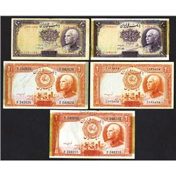 Bank Melli Iran, 1938, Lot of 5 Issued Banknotes