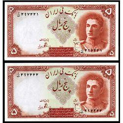 Bank Melli, ND (1944) Sequential High Grade Pair.