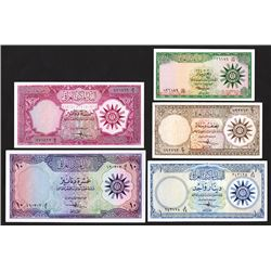 Central Bank of Iraq, ND (1959) Issued Set of 5 Banknotes