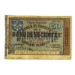Banca Di Credito De Girolami Pedretti & C. ND (ca1890-1900) Issued Scrip Note.