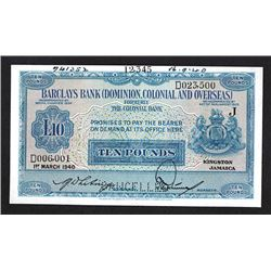 Barclays Bank (Dominion, Colonial and Overseas) Specimen Banknote.