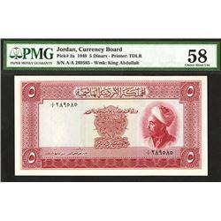 Jordan Currency Board, 1949 Issued Banknote