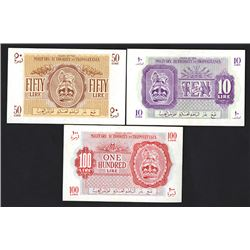 Military Authority in Tripolitania, 1943 Issue Trio of Banknotes