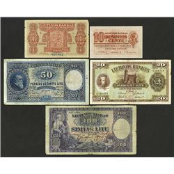 Bank of Lithuania, 1922 to 1930 Banknote Quintet.