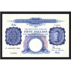 Board of Commissioners of Currency, Malaya, 1942 Issue Banknote. 1ST PREFIX A/1 RARE