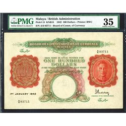 Board of Commissioners of Currency, Malaya, 1942 Issue Banknote.