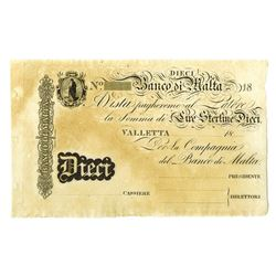 Banco di Malta, ND Second Issue, ca.1810-20.