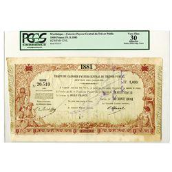 Caissier Payeur Central du Tresor Public (Service des Colonies), 1881 Treasury Note.